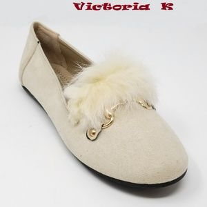 Feather Embellished Buckle Flats, B-2633, Beige